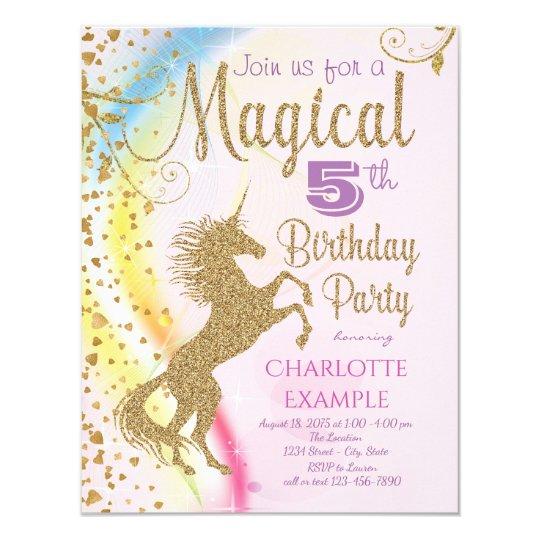 Unicorn rainbow magical birthday party invitations zazzle unicorn rainbow magical birthday party invitations stopboris Images