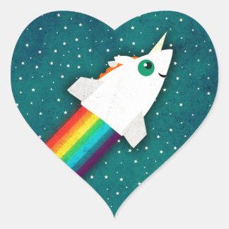 Unicorn Rainbow Rocket Heart Sticker