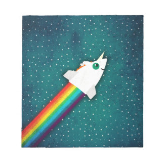 Unicorn Rainbow Rocket Notepad