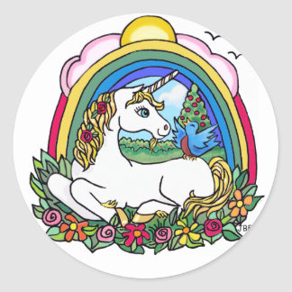 Unicorn & Rainbow Round Sticker