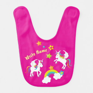 Unicorn Rainbow Stars. Fairy Tale Baby Bib