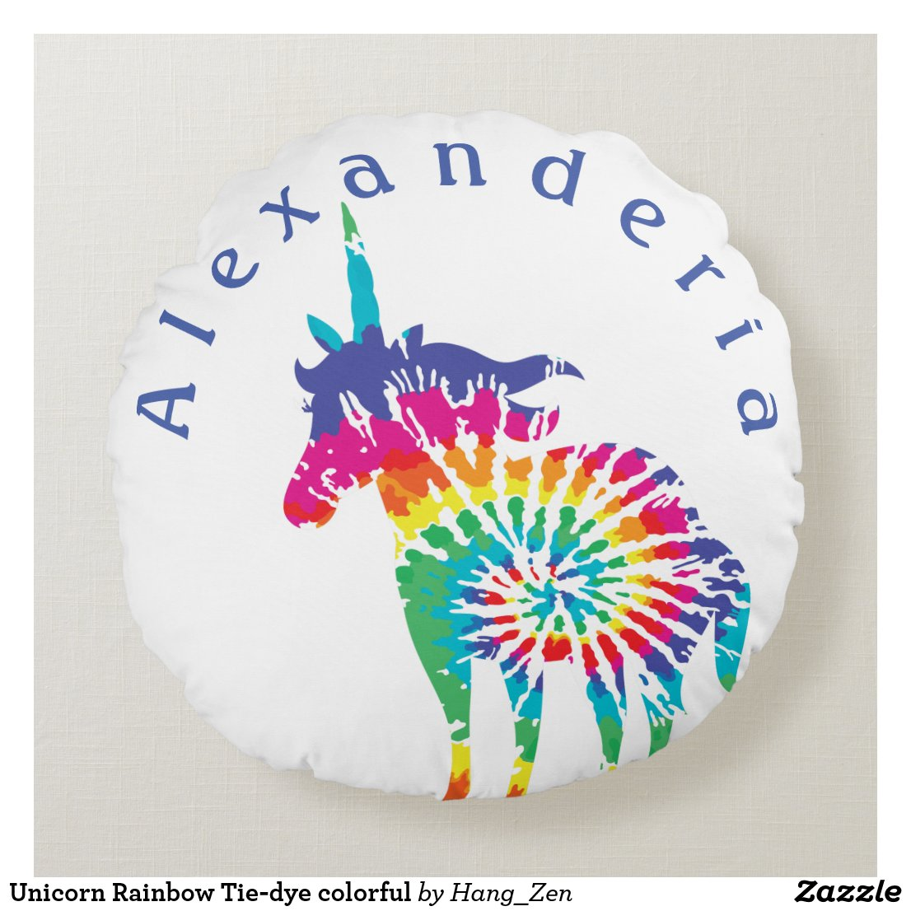 Unicorn Rainbow Tie-dye colourful Round Cushion