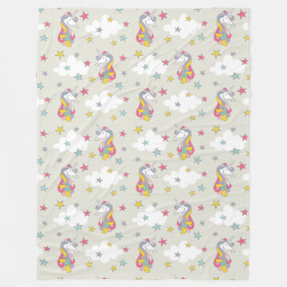 Unicorn Rainbows Clouds and Colorful Stars Bedroom Fleece Blanket