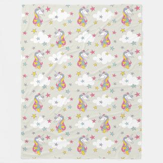 Unicorn Rainbows Clouds and Colorful Stars Bedroom Fleece Blanket