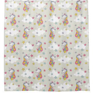 Unicorn Rainbows Clouds & Colorful Stars Bathroom Shower Curtain