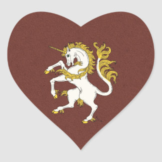 Unicorn Rampant Heart Sticker