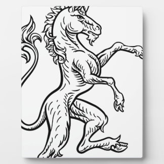 Unicorn Rampant Heraldic Crest Coat of Arms Plaque