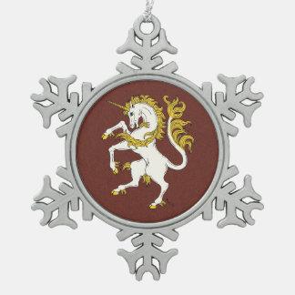 Unicorn Rampant Snowflake Pewter Christmas Ornament