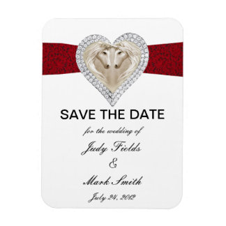 Unicorn Red Lace Save The Date Magnet