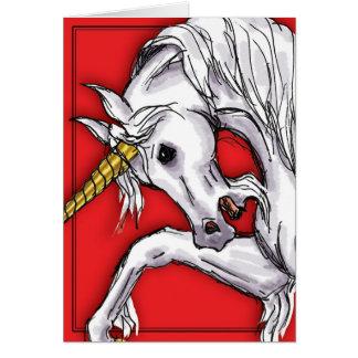 Unicorn Red notecard