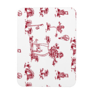Unicorn Red Toile Magnet