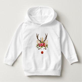 Unicorn Reindeer Antler / Christmas Flowers Hoodie