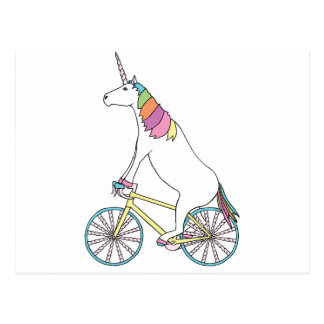 Unicorn Riding Bike W/ Unicorn Horn Spoked Wheels Postcard
