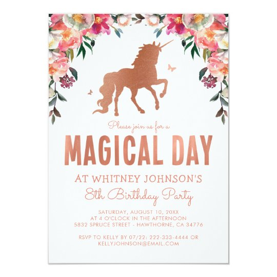 Unicorn Rose Gold Foil Magical Birthday Party Card