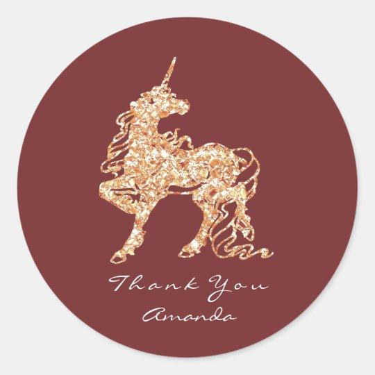 Unicorn Rose Gold Horse Stars Thank You Burgundy Classic Round Sticker