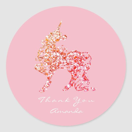 Unicorn Rose Pink Gold Horse Stars Thank You Classic Round Sticker