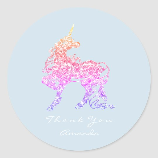 Unicorn Rose Pink Ombre Horse Stars Thank You Classic Round Sticker