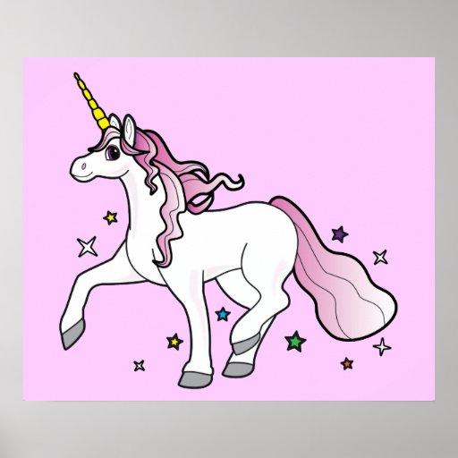 Unicorn Running Through Stars Light Pink Posters