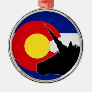 Unicorn Silhouette Over The Colorado Flag Christmas Ornament