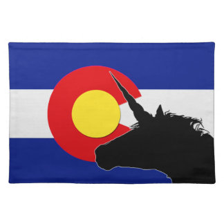 Unicorn Silhouette Over The Colorado Flag Placemat