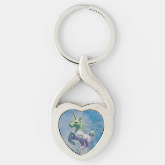 Unicorn Silver Keychain (Blue Arctic) Silver-Colored Twisted Heart Key Ring