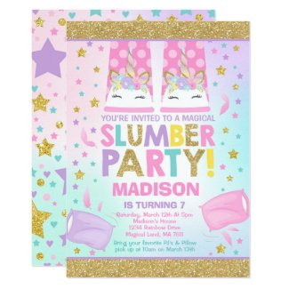 Unicorn Slumber Party Birthday Invitation