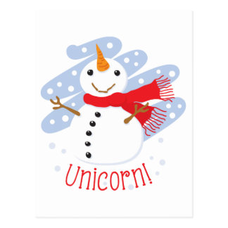 Unicorn Snowman Postcard