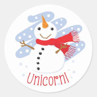 Unicorn Snowman Round Sticker