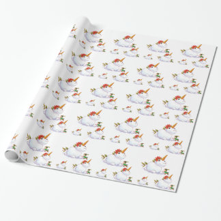 Unicorn Snowman Wrapping Paper
