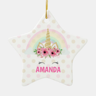 Unicorn Star Ornament, Unicorn Decor Christmas Ornament
