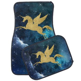 Unicorn Stardust Galaxy Blue Gold Car Mats