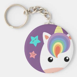 Unicorn & Stars Basic Round Button Key Ring
