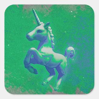 Unicorn Sticker Square (Glowing Emerald)