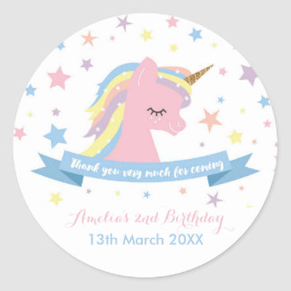 Unicorn stickers - birthday favor stickers