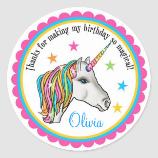 Unicorn Stickers, Unicorn birthday party stickers