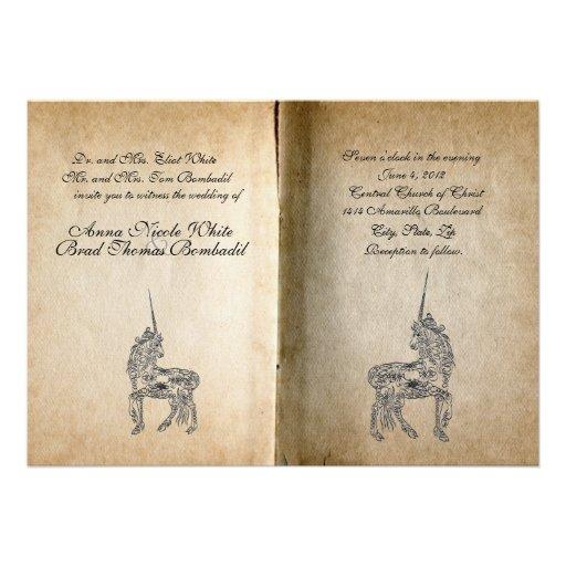 Unicorn Story Book Wedding Invitation 13 Cm X 18 Cm