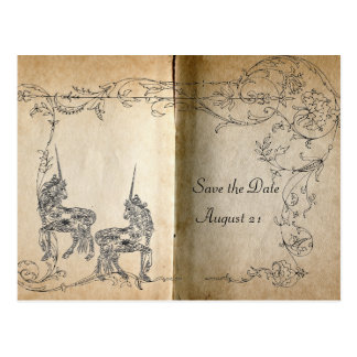 Unicorn Storybook Save the Date Postcard