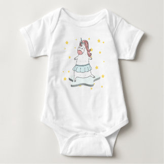 Unicorn surfing through the stars baby bodysuit