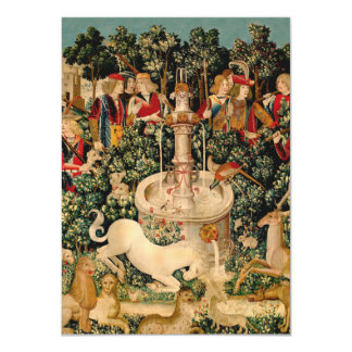 Unicorn Tapestries Medieval Art 11 Cm X 16 Cm Invitation Card