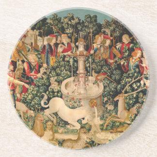 Unicorn Tapestries Medieval Art Coaster