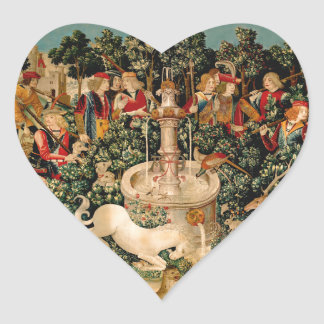 Unicorn Tapestries Medieval Art Heart Sticker