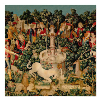 Unicorn Tapestries Medieval Art Poster