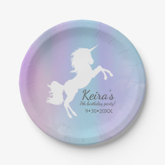 Unicorn themed, cotton candy color, event details paper plate