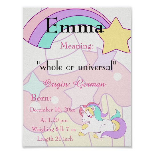 Unicorn themed Name meaning keepsake nursery Poster ...