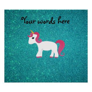Unicorn turquoise glitter posters