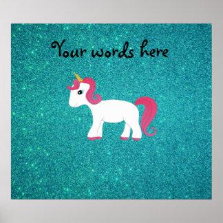 Unicorn turquoise glitter posters