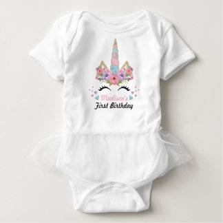 Unicorn Tutu Bodysuit 1st Birthday Party Outfit