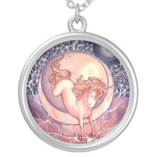 Unicorn, Universe Round Pendant Necklace