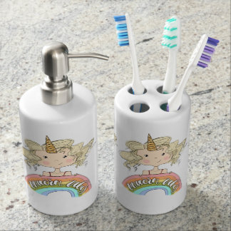 Unicorn Vibes Soap Dispenser And Toothbrush Holder