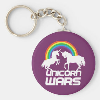 Unicorn Wars with Rainbow Basic Round Button Key Ring